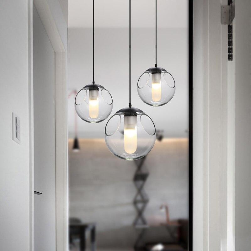 Nordic creative children room glass ball line modern restaurant bar chandelier bubble personality single head lamp - 5