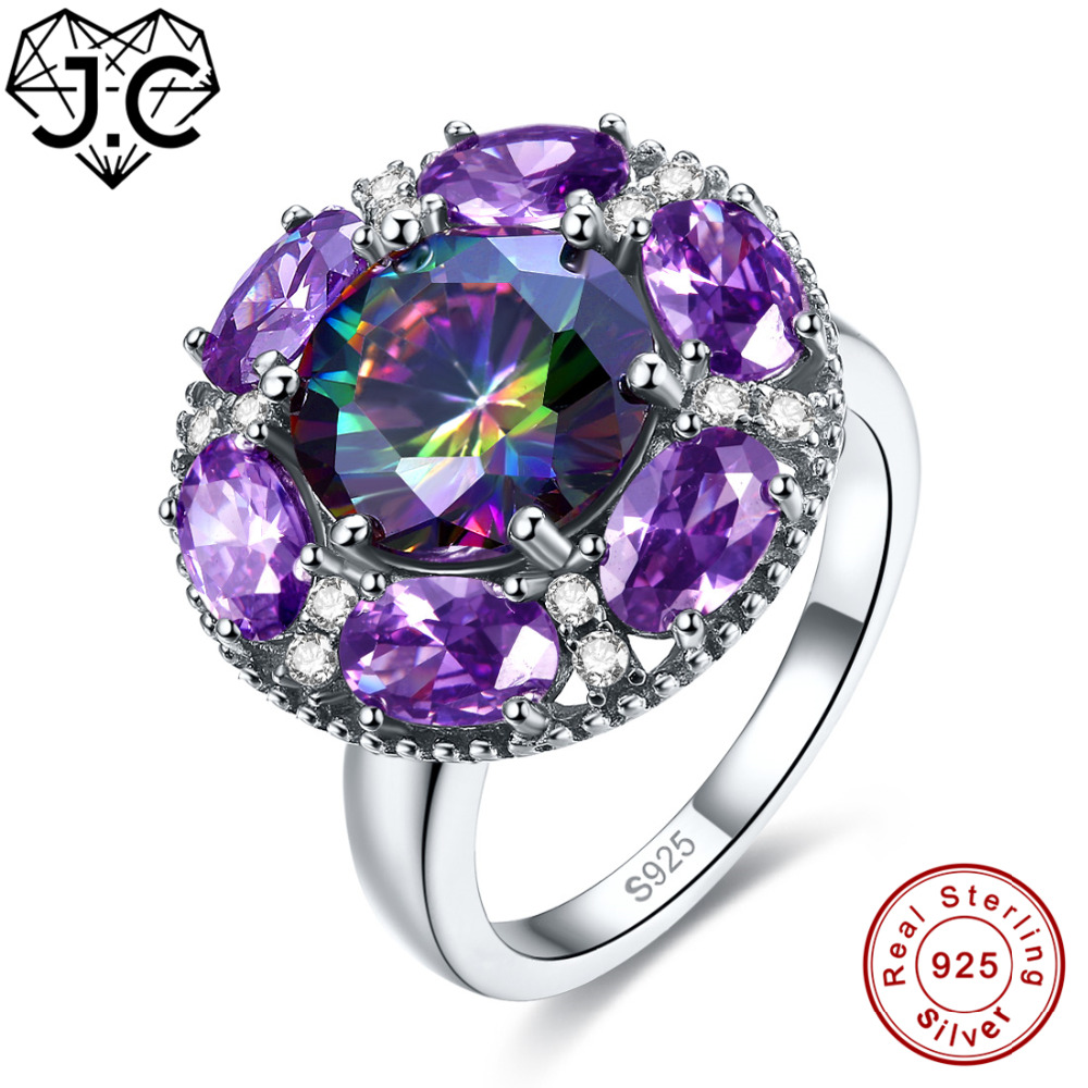 J.C High Quantity Ruby Spinel & Amethyst Rainbow Blue White Topaz Real 925 Sterling Silver Ring Size 6 7 8 9 Female Fine Jewelry