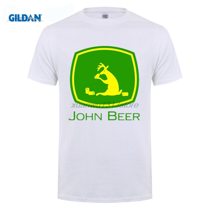 GILDAN Lustige T-shirt John Bier Traktor Bagger Grün Lustige T Shirts Mann Kurzarm T-Shirts männer Kühlen Designs