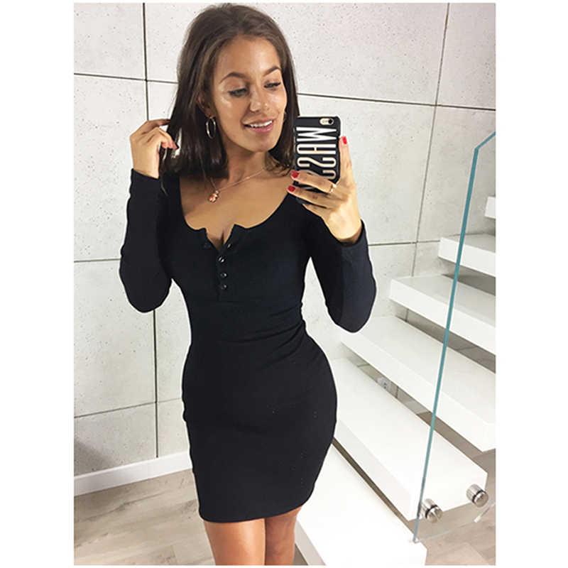 Модное женское платье с длинным рукавом, осенне-весенние платья, сексуальное черное мини облегающий, зауженный, обтягивающий платье