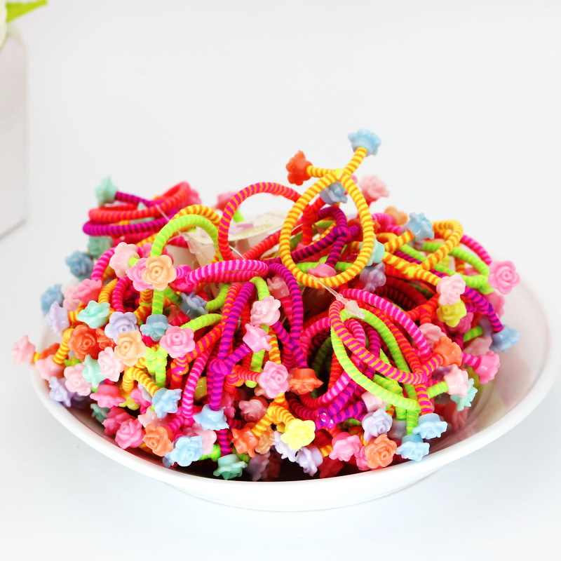 isnice 30pcs/lot tw Flower Headwear Rainbow Color Gum For Hair Rubber bands Small cute hair accessories gum girl ornaments