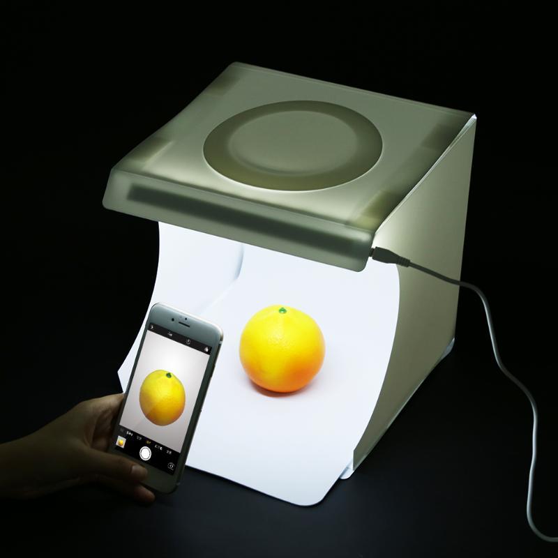 Luz plegable portátil estudio de fotografía Softbox luz LED Soft Box Tent Kit para iPhone Samsang DSLR Cámara Foto fondo