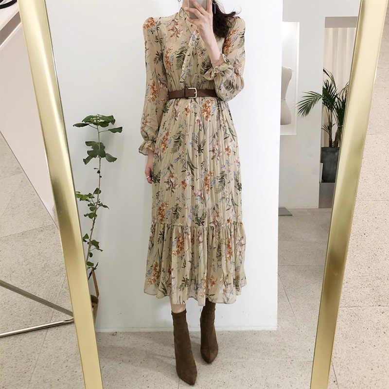 Vrouwen Jurk 2019 Lente Zomer Koreaanse Mode Vintage Bloemenprint Chiffon Midi Jurk Dames Elegante Jurken Met Riem Kleding