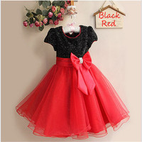 Hot Sale Baby Girl Princess Flower Girl Dresses With Bow Belt Christmas Girl Costume Made 8 Color Communion Dresses 1272