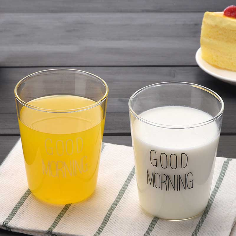 Convenient 400ml Brief Style Good Morning Glass Breakfast Cups Glassware Lovely Cups & M ...