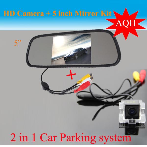 2 1 sistema de Auto estacionarse Mitsubishi Outlander CCD HD cámara de visión trasera + 5 pulgadas HD espejo retrovisor del coche