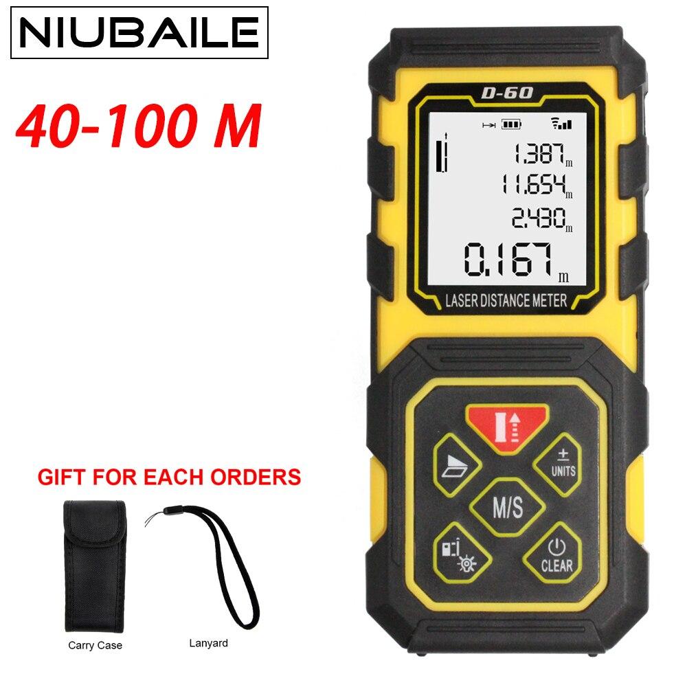 NIUBAILE Mini Laser Range finder 40 M 60 M 80 M 100 M Laser Distance Meter Telemetri Laser Handheld Trena Strumento di Misura di nastro D-ZH