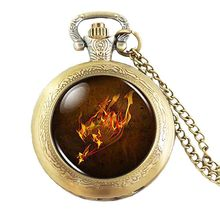 Steampunk Anime Fairy Tail Guild Marks Fire Wing Pocket Watch mens Necklace doctor dr who 1pcs/lot chain men jewelry women chain