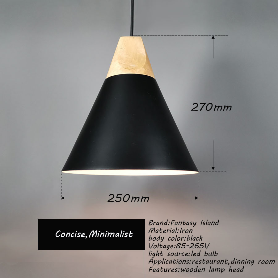 Fantasy Island Pendant Lights Wooden Metal Black E27 Led Lamp Nordic Design Hanging Dinning Room Decor Rope Light