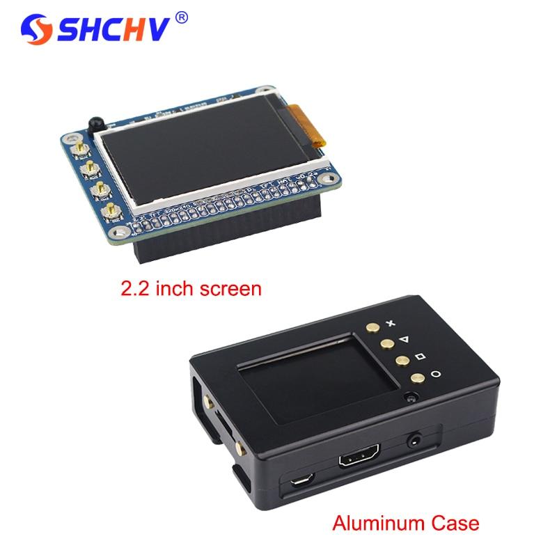 Raspberry Pi 3 2.2 pouce TFT Écran LCD Display + Noir Boîtier En Aluminium Cas Boîte également pour Raspberry Pi 2 modèle B Livraison Gratuite