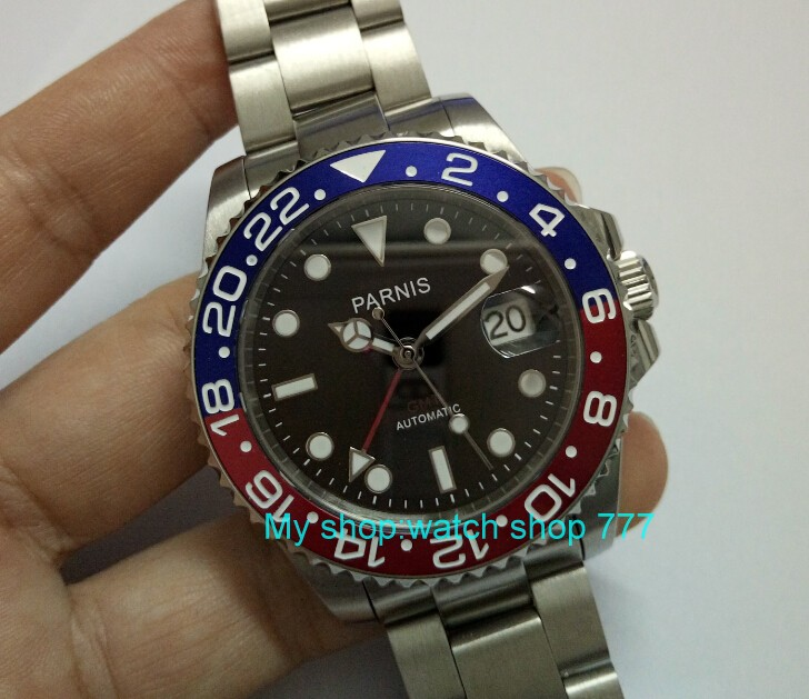 2017 new fashion 40mm parnis GMT Red&Blu bezel Sapphire Crystal Men Automatic Watch Luxury watch 0243