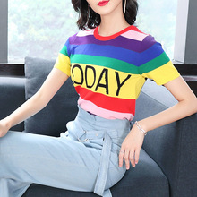 Elastic knit striped letter short sleeve o-neck loose casual t-shirts 2018 new high quality office lady women autumn t-shirts high neck striped knit bodysuit