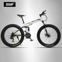 UPPER Mountain Fat Bike Full Suspension Steel Folding Frame 24 Speed Shimano Mechanic Brake 26″x4.0 Black Wheel
