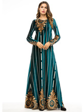 High-quality Long-sleeved Fashionable Boutique Printed Pendant Dress Party Night Maxi Velvet