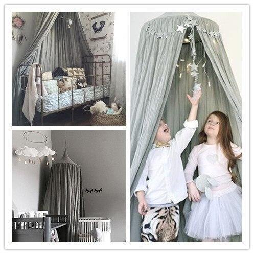 7 цветов, хлопок, для девочек и мальчиков, кровать, навес, для чтения, уголок, палатка, купол, москитная сетка, подвесное украшение, внутренний игровой домик для детей - Цвет: Gray
