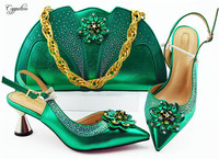 New fashion green high heel pointed toe African shoes and handbag set for party MM1085, heel height 7cm