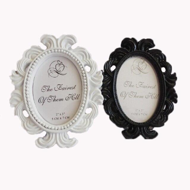 4pcs/lot Vintage Mini White/Black Resin Oval Baroque photo frame ...