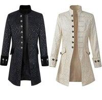 2019 Men's Coat Solid Color Mens Gothic Fashion Jacket Retro Long Jacket Men Windbreaker Coat Men Steampunk Jacket