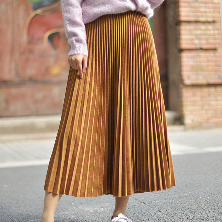 19 Two Layer Autumn Winter Women Suede Skirt Long Pleated Skirts Womens Saias Midi Faldas Vintage Women Midi Skirt 50
