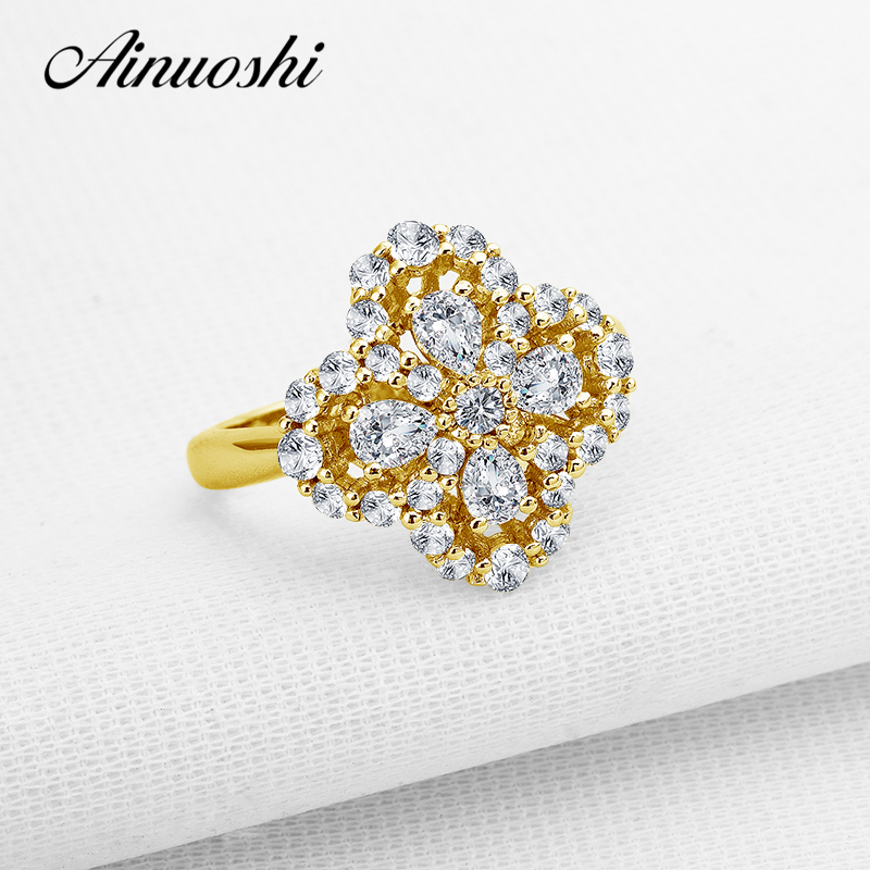 AINUOSHI 10K Solid Yellow Gold Wedding Ring Four Leaf Clover Shape Pear Cut Bague Simulated Diamond Engagement Flower Rings Gift цена