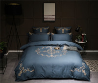IvaRose Blue Luxury Egyptian Cotton Linen bed sheets Embroidery Duvet cover set Queen King size Bedding Sets Soft Bedclothes 36
