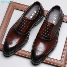 QYFCIOUFU Luxury Mens Genuine Leather Brogue Dress Shoes Italian Custom Goodyear Welted Vintage Boss Men Business Work Shoes sipriks luxury mens dress shoes unique designer derby shoes handsome sewing welted shoes rubber sole work flats 2018 new style
