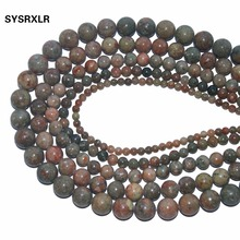Wholesale Natural Stone Unakite Round Loose Beads For Jewelry Making DIY Bracelet Necklace Material 4/6/8/10/12 MM Strand 15''
