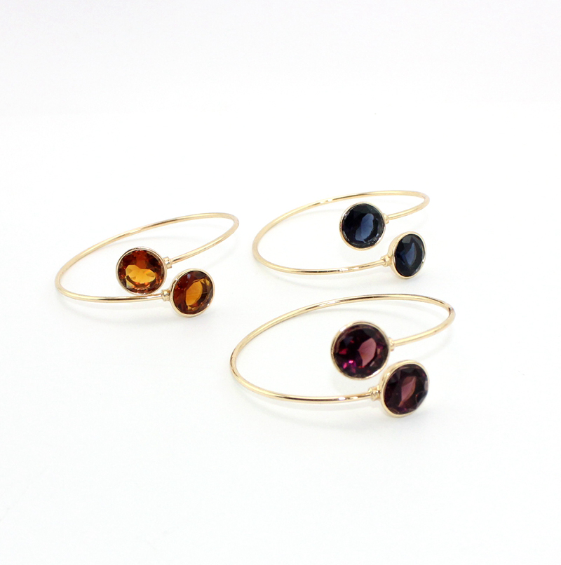 Round Glass Mirror Face Open Cuff Bangle For Women Gift Fashion Jewelry Wholesale