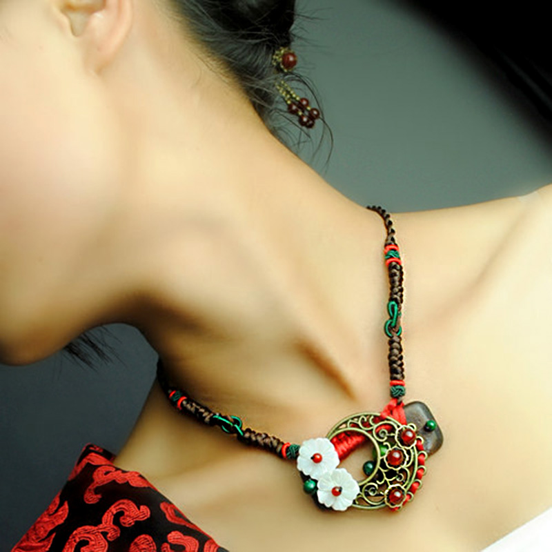 vintage choker necklace for women short chain shell flower red carnelian stone wooden holder pendant ethnic jewelry fashion