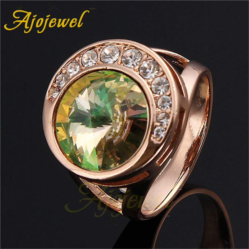 Size 7-9 Luxury Rose Gold Plated Blue/Red/Green Crystal Wedding Rings