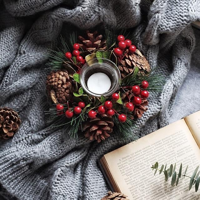 Beautiful Christmas Pine Needles Branch Candlestick Wreath Window Decoration Candle Holders Furnishing Candlelight Decoration
