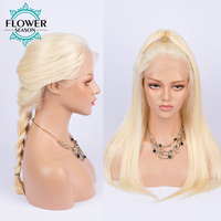 613 Straight Blonde Lace Front Wig 13x6 Frontal With Baby Hair Malaysian Remy Human Hair Wigs Pre Plucked Hairline FlowerSeason