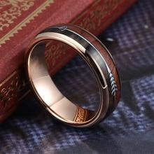 цена на 6mm Rose Gold Black Silver Men's Tungsten Carbide Ring Women's Wedding Bands Koa Wood Arrow Inlay Comfort Fit