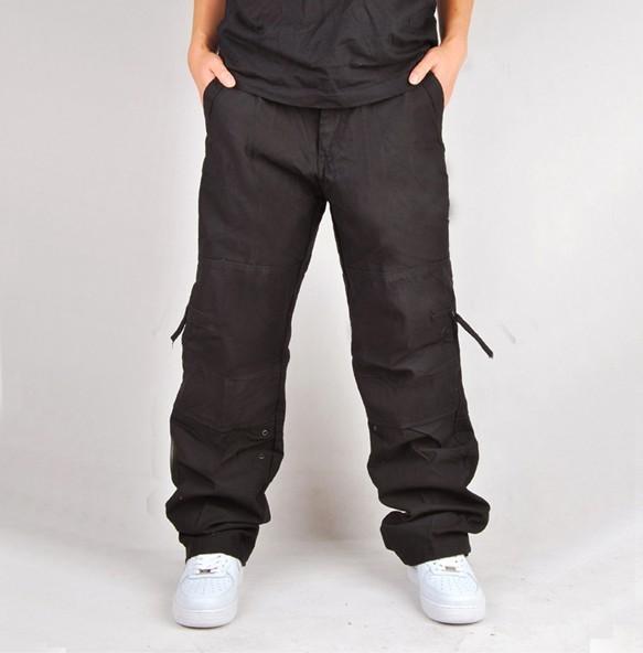 Venta caliente Flojo Ocasional mono de la moda, de los hombres 100% algodón de varios pantalones de bolsillo, gran tamaño de Los Hombres pantalones rectos tamaño 30-40