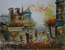 Hand Painted European Landscape Canvas Painting Texture Thick Knife Paris Street Oil Painting  Wall Art  Picture for Living Room