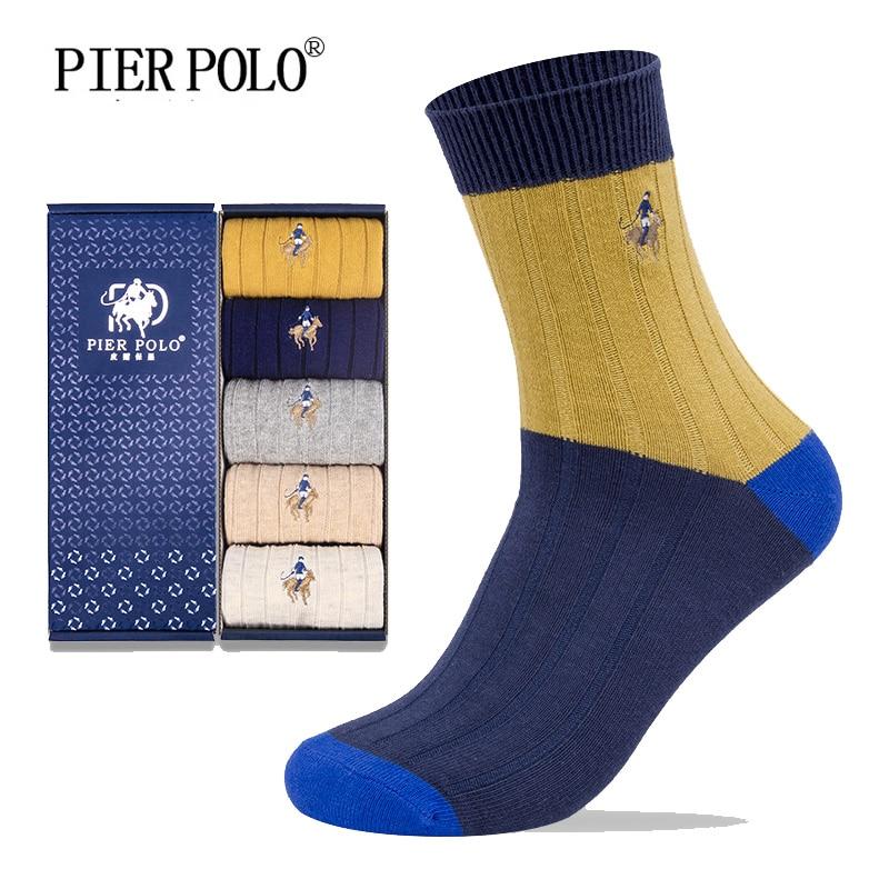 Pierpolo Warm Socks Fashion Brand Men Socks 5pairs/lot Crew Cotton Socks Autumn Winter Embroidery Casual Socks Men Clear-Cut Texture Underwear & Sleepwears