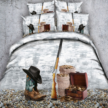 Cowboy Leather Boots Printed Duvet Cover Set for Kids Children boys Girls Wrinkle, No Fade, Stain Resistant,Hypoallergenic