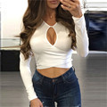 2016 New fashion autumn high quality women casual sexy long-sleeve hollow out cropped t shirt tee tshirt camisetas mujer tops
