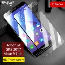 2PCS Verre Trempé Huawei Honor 6X écran protecteur pour Huawei Honor Film 6X en verre Pour lhonneur 6X Film de protection 5.5inch Wolfsay