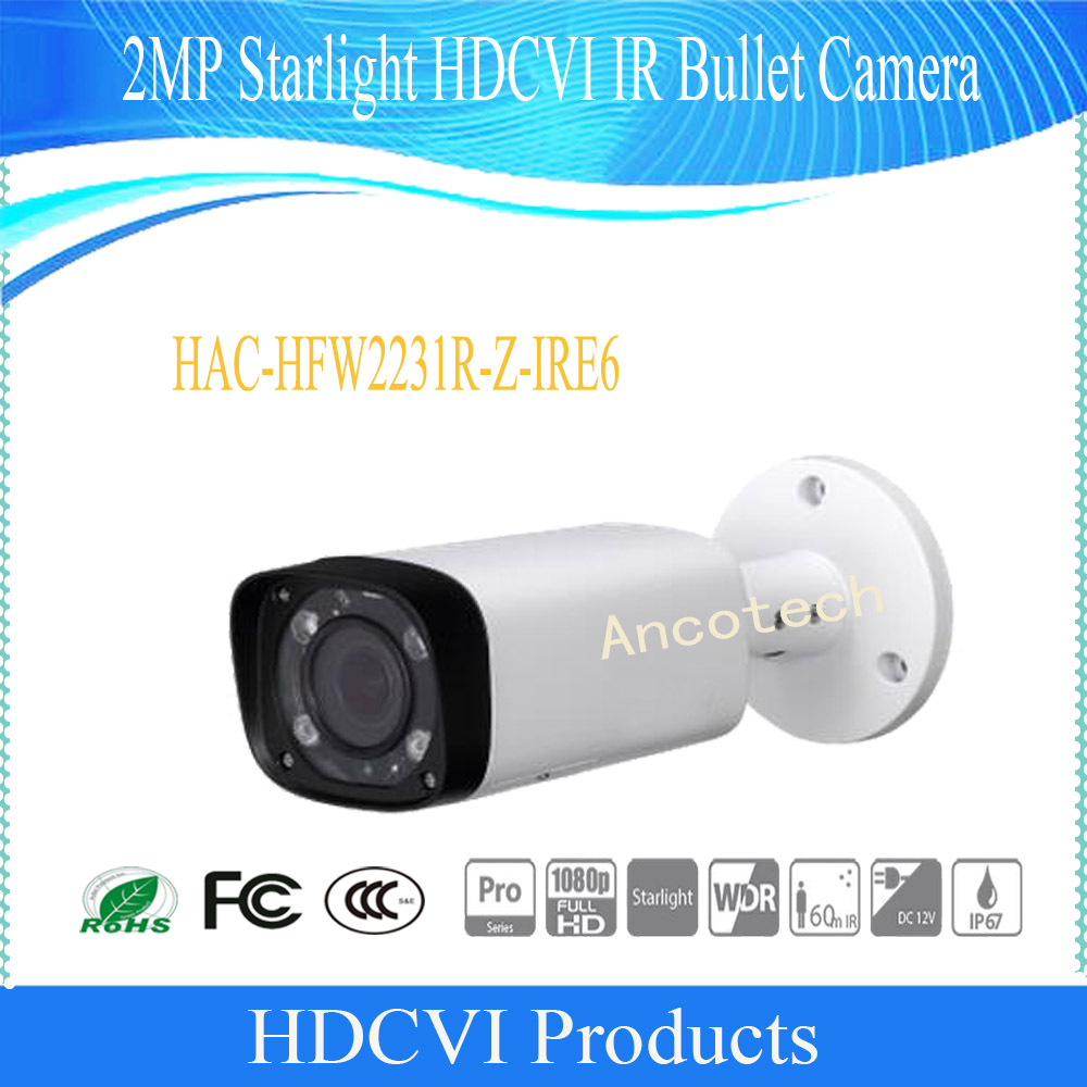 Free Shipping DAHUA 2MP Starlight HDCVI IR Bullet Camera without Logo HAC-HFW2231R-Z-IRE6 free shipping dahua 2mp starlight hdcvi ir eyeball camera ip67 without logo hac hdw2231r z dp