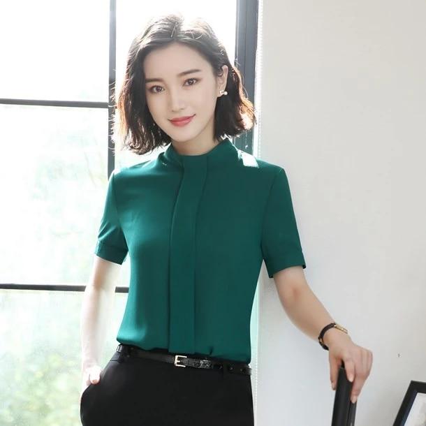 Summer Fashion Women Blouses Shirts Short Sleeve Green Ladies Tops Office Uniform Styles Blouses Shirts Aliexpress