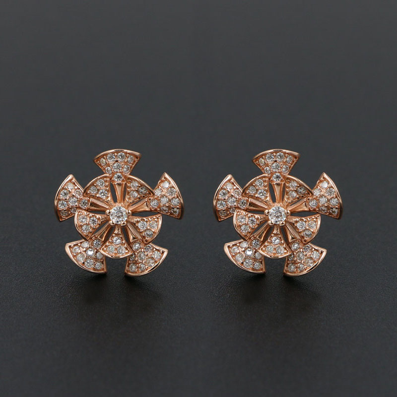 Rhodium Plated 925 Sterling Silver Small Cut Out Snowflake Flower Stud Earrings