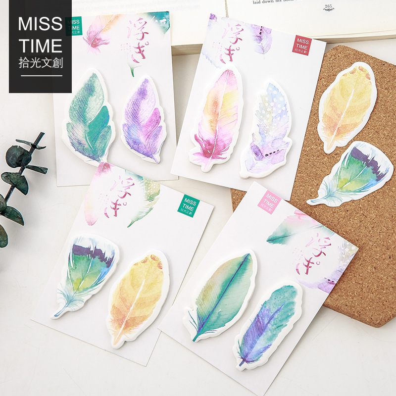 Y56 Fresh Colorful Feather Memo Pads Sticky Notes Stick Paper Message Sticker Bookmark Marker of Page Stationery School Supply 8 pack lot cat paper bookmark ice cream paper page holder memo card stationery office school supplies separador de libros 7033 page 6