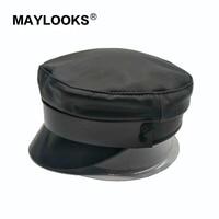 haisum Fashion Solid Visor Military Hat Autumn Winter Vintage Patchwork leather Beret Cap For Women England Style Flat Cap CS146