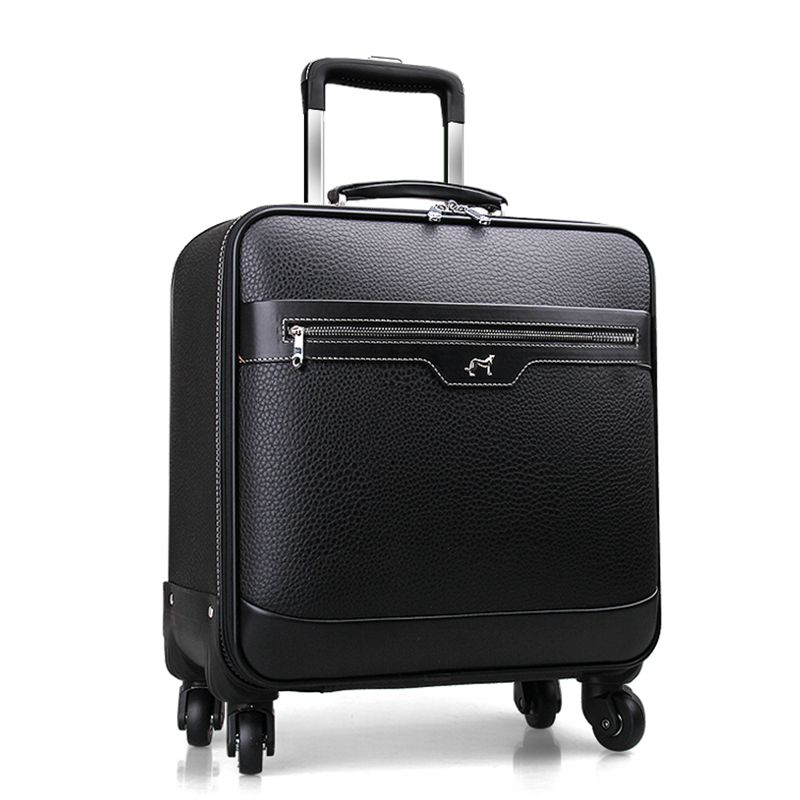 Quality leather travel bag male cow split leather luggage 16 20 22 universal wheels cowhide commercial trolley luggage suitcase