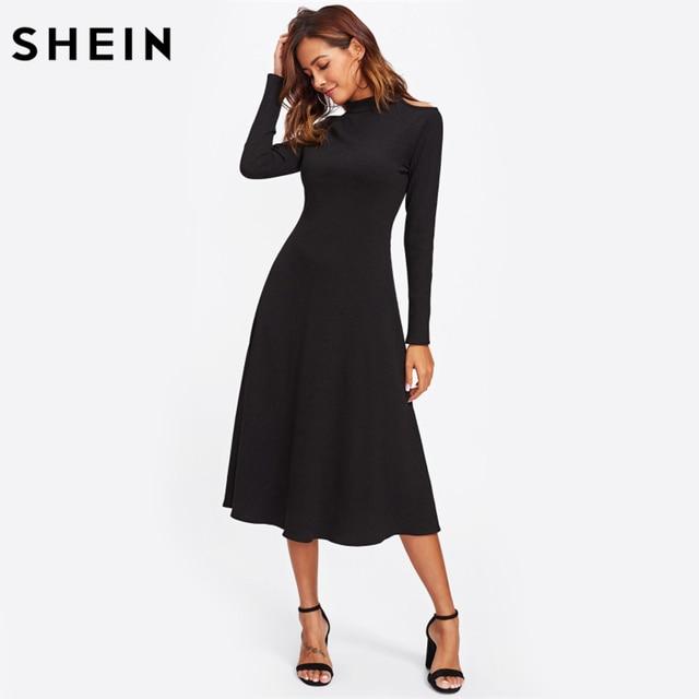 SHEIN Cut Out Shoulder Raglan Sleeve Ribbed Dress Black Long Sleeve A Line Fall Dresses 2017 Sexy Elegant Dress