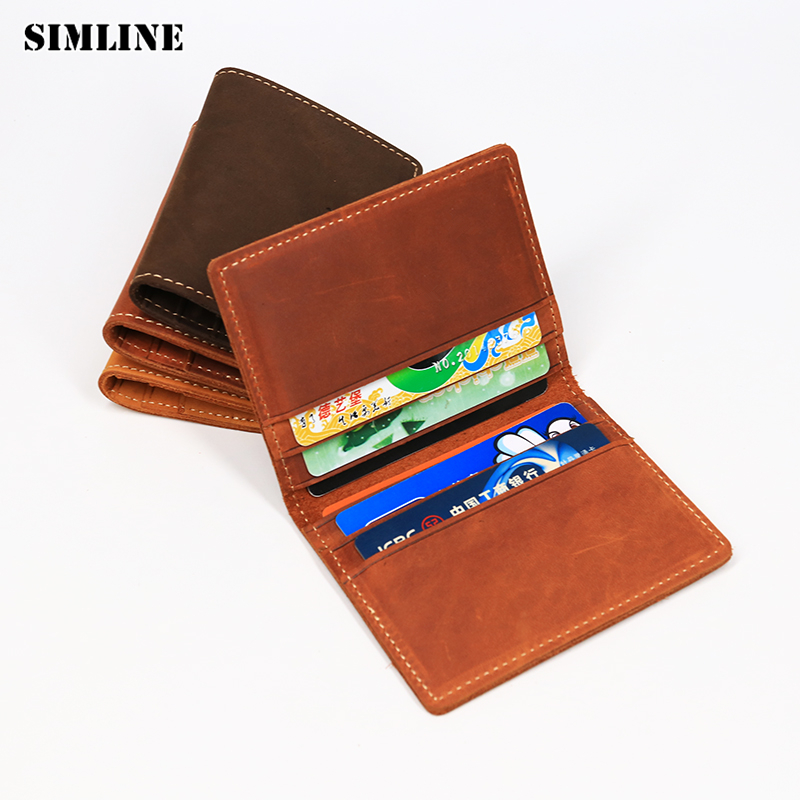 SIMLINE Genuine Leather Credit Card Holder Men Men's Vintage Crazy Horse Cowhide Short Slim Wallet Wallets Purse Case ID Holders simline genuine leather men wallet men s vintage crazy horse cowhide short wallets purse with coin bag pocket card holder male