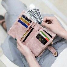 Купить с кэшбэком 2019 New Matte Leather High Quality Women Wallets Zipper Coin Pocket Cute Luxury Women Card Holders Hasp Ladies Clutch Bag W191