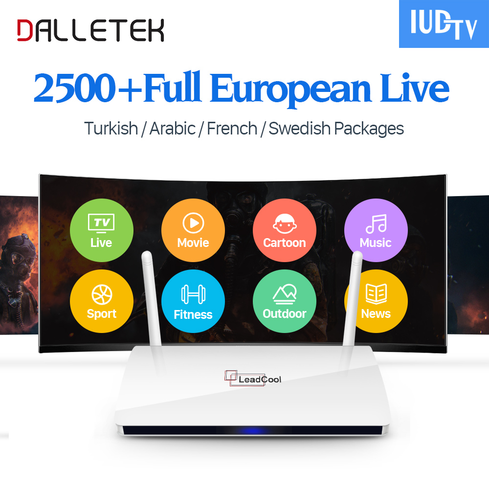 Dalletektv Leadcool Android TV Box Smart + Remote Control 2500 Europe Channels IUDTV Subscription French Arabic IPTV Top Box dalletektv leadcool qhdtv iptv box 1 year subscription europe french italia 1300 channels android 6 0 tv box arabic iptv top box