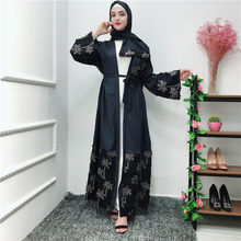 Kaftan Floral Abaya Kimono Robe Dubai Turkey Muslim Hijab Dress Abayas For Women Jilbab Caftan Islamic Clothing Ramadan Elbise(China)